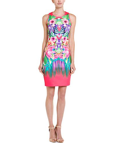 Laundry by Shelli Segal Calypso Coral Floral Neoprene Dress.
