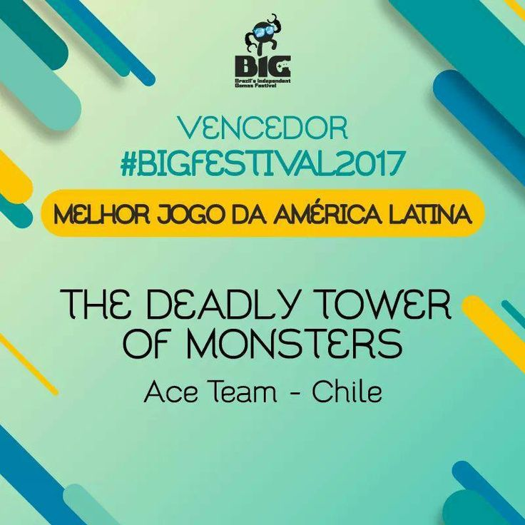 The Deadly Tower of Monsters wins best Latin American game at BIG Festival in Brazil. We're honored!  #TheDeadlyTowerOfMonsters #ACETeam #VideoGames #VideoGame #Gaming #GameDev #IndieDev #IndieGames #IndieGame #PCGames #PCGame #Steam #PlayStation4 #PS4 #ActionGames #Atlus #AtlusUSA #AtlusGames #SciFi #ScienceFiction #BMovie #GOTY #GameAwards #BIGFestival #BIGFestival2017