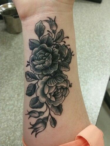 Vintage peony floral tattoo women's lower arm/ forearm/wrist black and white. My cover up tattoo. Vintage black white floral
