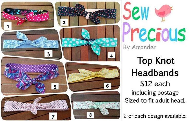 Handmade by Sew Precious By Amander  Top Knot Reversible Headbands