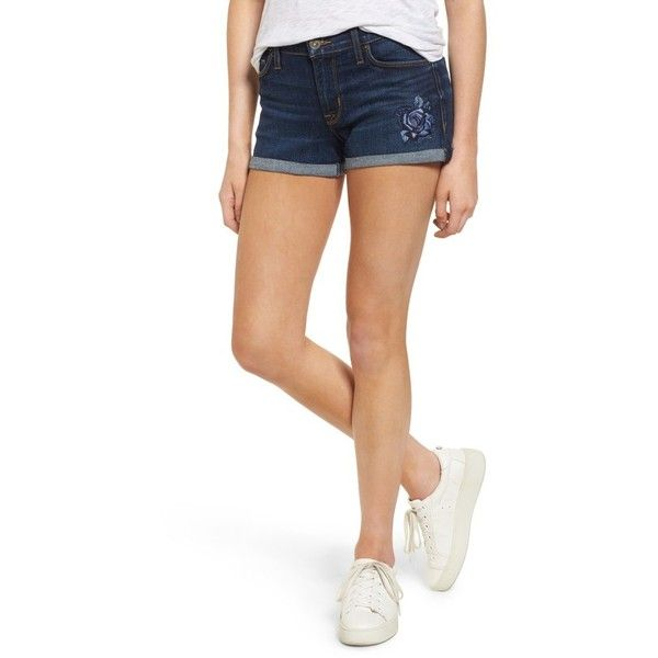 Women's Hudson Jeans Asha Denim Shorts ($158) ❤ liked on Polyvore featuring shorts, embroidered patrol unit, short jean shorts, embroidered shorts, embroidered denim shorts, cuffed denim shorts and hudson jeans