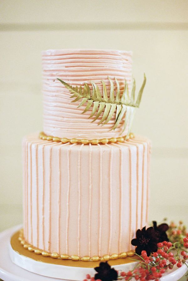 pink and gold wedding cake, photo by Amber Snow