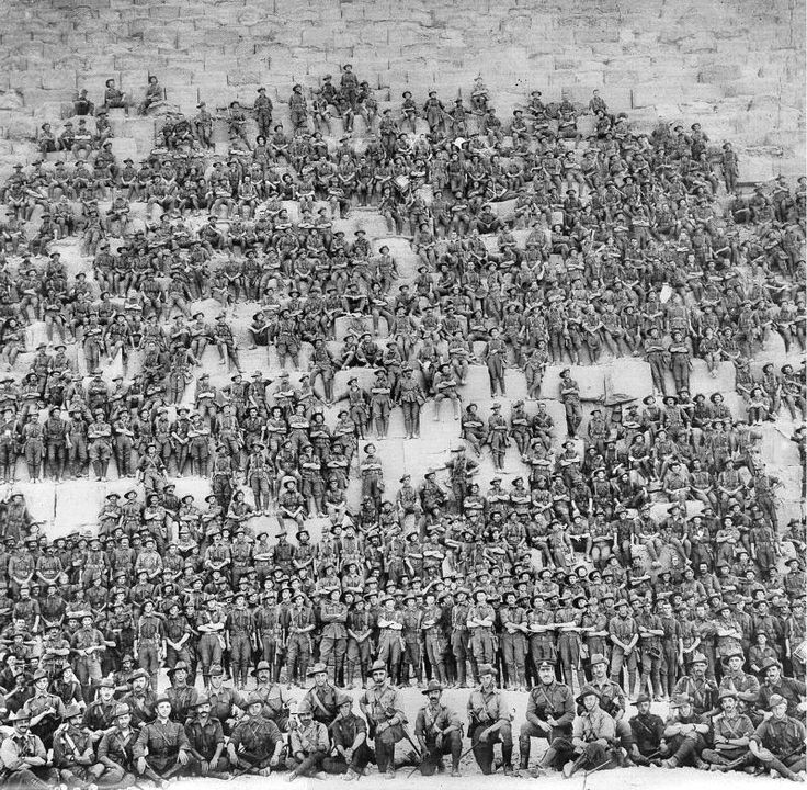 WW1: Australian soldiers visit one of the Egyptian pyramids. This photographer succeeded in including so many in the frame -- he stood quite away from the scene and must have used whatever passed as a camera wide angle lens in those days. No barrel distortion though.