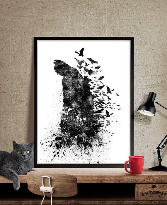 Imprimir Arte acuarela Batman cartel de súper por FineArtCenter