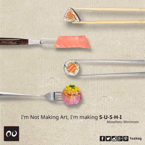"""""""I've been making sushi for 38 years, and I'm still learning. You have to consider the size and color of the ingredients, how much salt and vinegar to use and how the seasons affect the fattiness of the fish.""""  Masaharu Morimoto"""