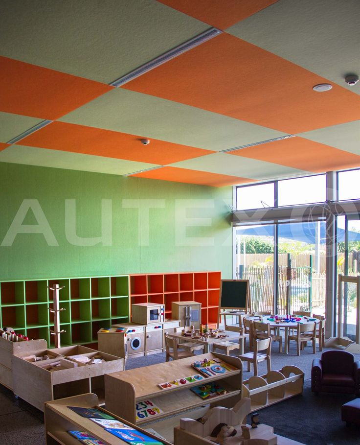 Autex Interior Acoustics - Composition® - Takanini Childcare Centre, Auckland, NZ - Colours: Lime & Brilliant Orange - Acoustics in Education