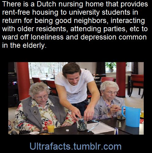A nursing home in the Netherlands allows students to live rent-free alongside the elderly residents, as part of a project aimed at warding off the negative effects of aging.