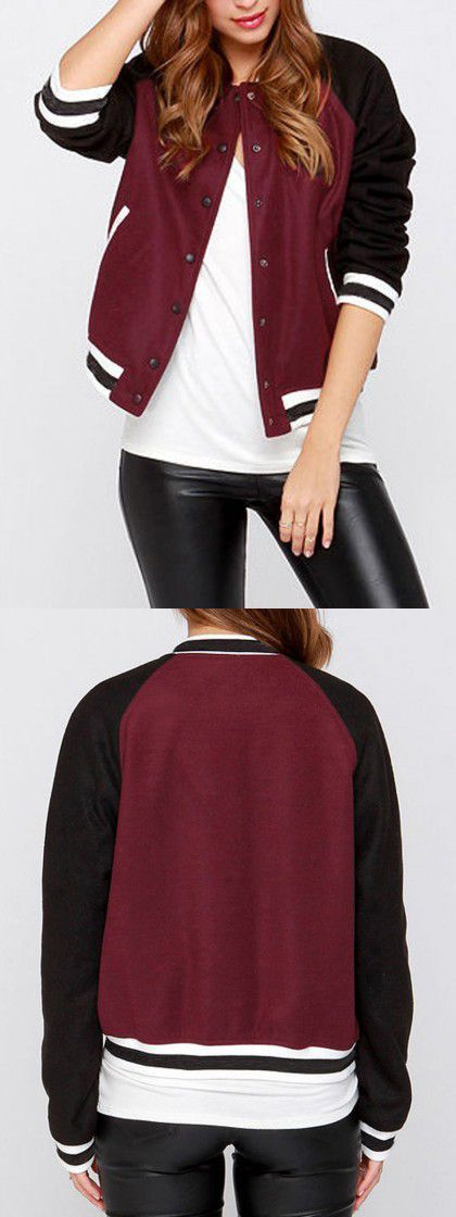 Burgundy Contrast Single Breasted Bomber Jacket