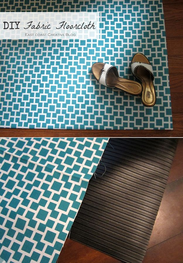 Similarly, you can do the same thing to an ugly rubber mat using spray adhesive. | 31 Home Decor Hacks That Are Borderline Genius