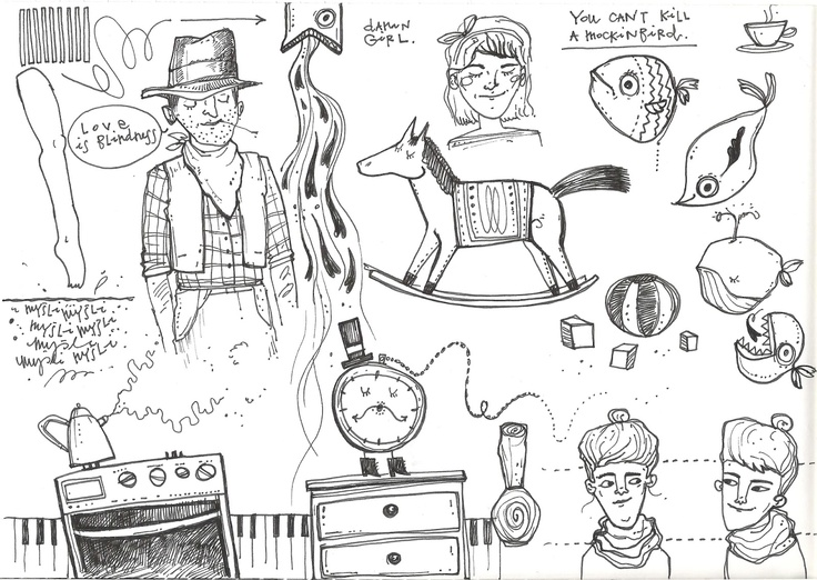 some are in polish but don't worry, mostly it doesn't make any sense, just some random things I heard while drawing