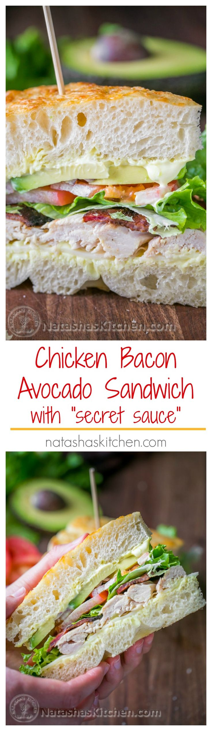 Chicken Bacon Acocado Sandwich ~ Avocados in sandwiches are so delicious. #avocado Copycat Recipe | NatashasKitchen.com