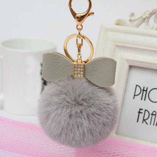 Faux Rabbit Fur Ball Bowknot Charm Car Keychain Handbag Key Ring Delicate