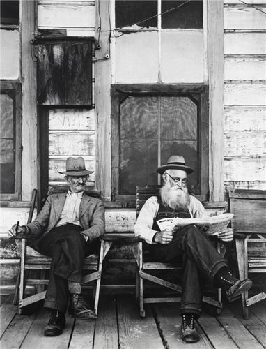 Two Men on Porch, Hornitos by Ansel Adams
