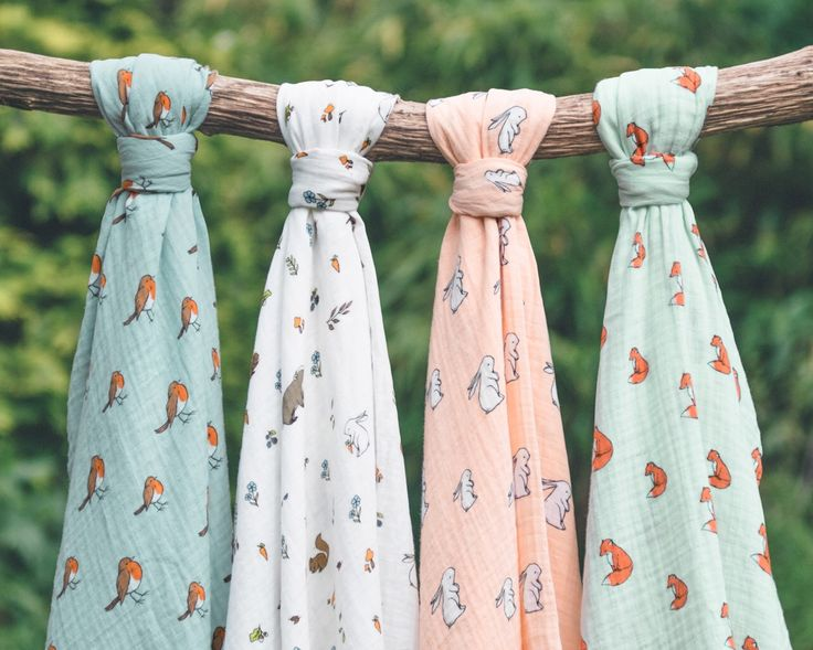 Our woodland friends: Little robin, Into the woods, Long ear bunny, Gentle fox. Organic cotton muslin swaddling baby blankets. Woodland collection.