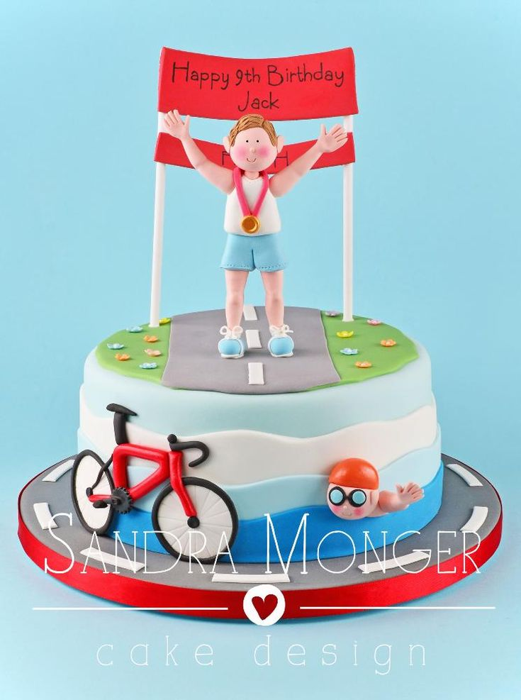 Triathlon Birthday Cake with Handcrafted Models