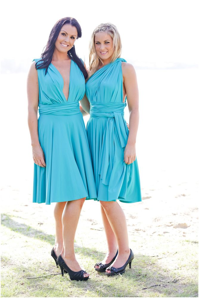 Jade Green Cocktail Length Convertible Bridesmaid Dress by http://lucyandloo.com.au    Wrap and Twist these Convertible Dresses into over 50 different styles. Match your bridesmaids.. or let them style differently to suit their shape.