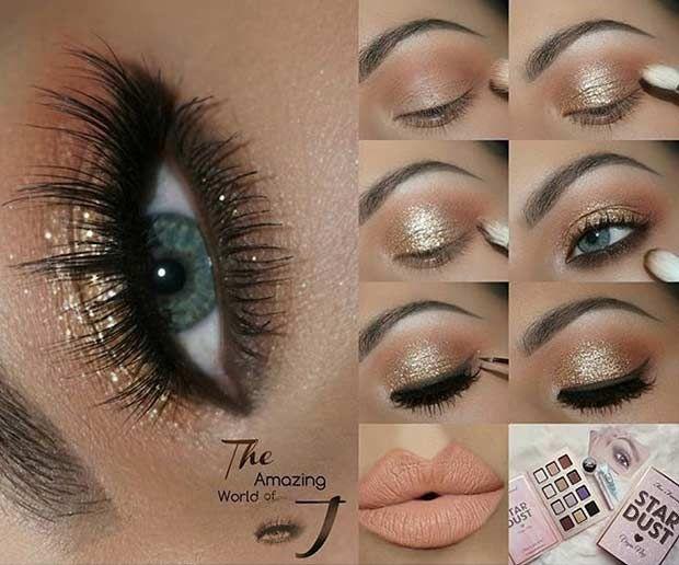 Gold Glitter Eyes + Peachy Lips Tutorial