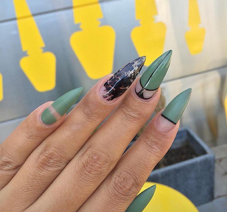 Love The Matte Olive Green Ovel Amp Stiletto Nails