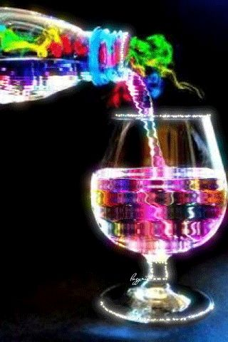 Rainbow of adult beverage (?)...maybe after a coupe glasses of wine it may look like this!!!!