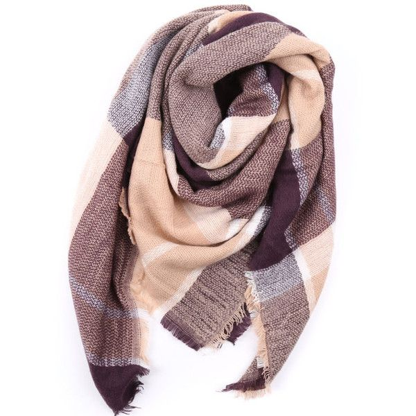 Everest oversized blanket scarf ($109) ❤ liked on Polyvore featuring accessories, scarves, tartan plaid blanket scarf, print scarves, short scarves, plaid shawl and striped scarves