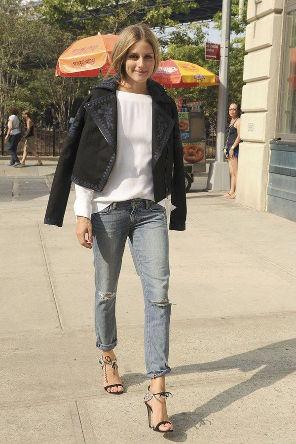 It's as if Olivia Palermo has a super-power brain that works like Cher's fantastical computer outfit generator in Clueless. Because the girl just never stops coming up with amazing style combinations—like this ultra-chic denim transforming look right here. The new shoe designer completely and effortlessly elevated a long-sleeve top and boyfriend jeans with two easy but insanely glam tricks: an embroidered Marchesa Voyage for ShopStyle moto jacket and the sexiest of sexy crystal embell...