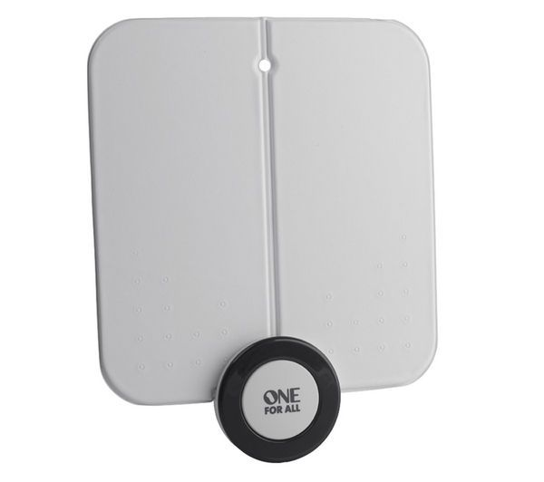 Buy ONE FOR ALL  SV 9215 Flat Indoor TV Aerial Price: £29.99 The wideband One for All SV 9215 Flat Indoor TV Aerial offers a strong reception for all your digital channels, including HD. This One For All SV 9215 Flat Indoor TV Aerial has an ultra-flat form, so you can easily hide it behind your flat-panel television or cabinet - enjoy watching the telly without any ungainly accessories...