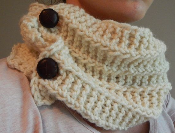 cream knitted cowl scarf with buttons off white by LoveEweNatural, $55.00
