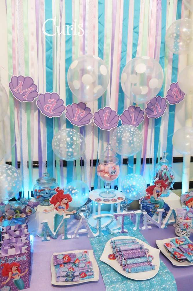 Pretty dessert table at a Little Mermaid birthday party! See more party ideas at CatchMyParty.com!