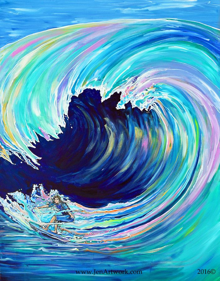 """Colorful pastel wave painting. """"Wipeout""""-$1400.00 Original Painting by Jen Callahan. This painting was done on a 30""""x 40"""" gallery wrapped stretched canvas with 1 1/2"""" sides."""