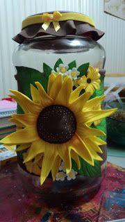 Herthal art's: vidro decorado com girassol de e.v.a Herthal art's...