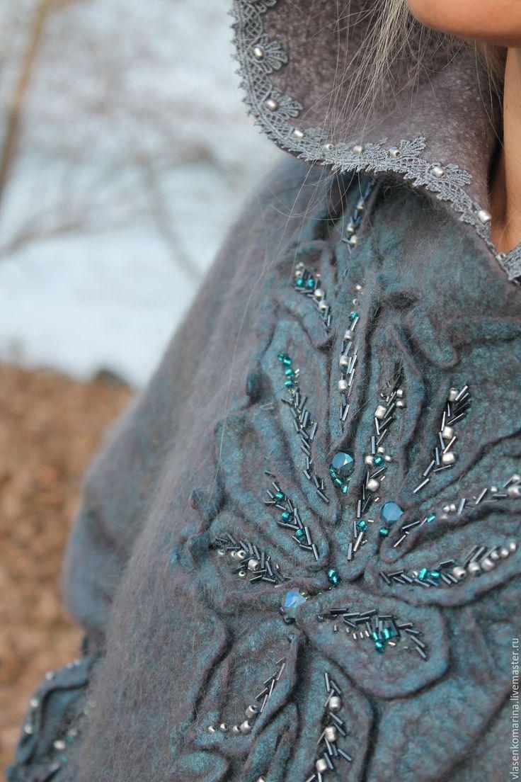 Купить Пальто валяное Туманное утро - комбинированный, серый, джинс, туман, туманность, пальто валяное