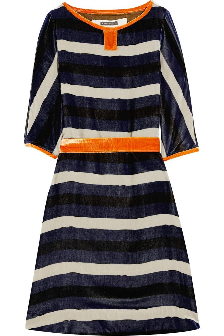 Striped velvet dress by Easton Pearson