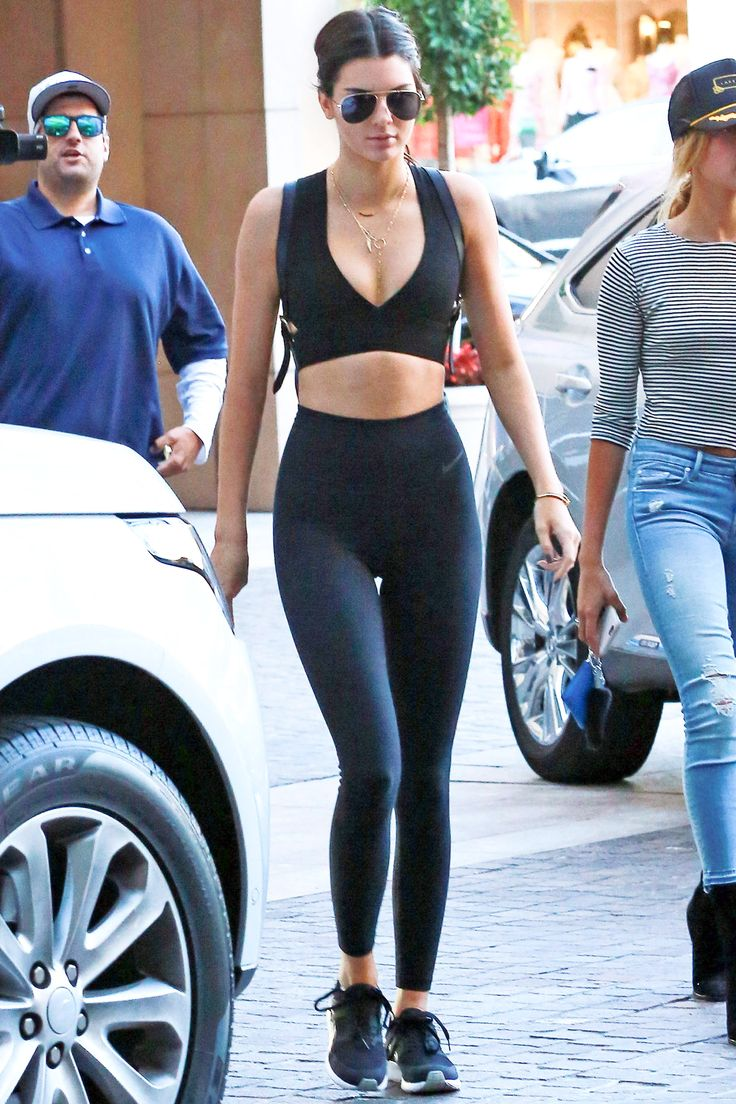 Kendall Jenner in an all-black workout outfit.