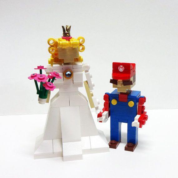 LEGO Mario and Princess Peach Wedding Cake Topper by FoldedFancy, $150.00