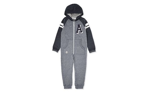 "Grey and Navy All In One. ""He'll love lounging around in this cool varsity inspired onesie."""