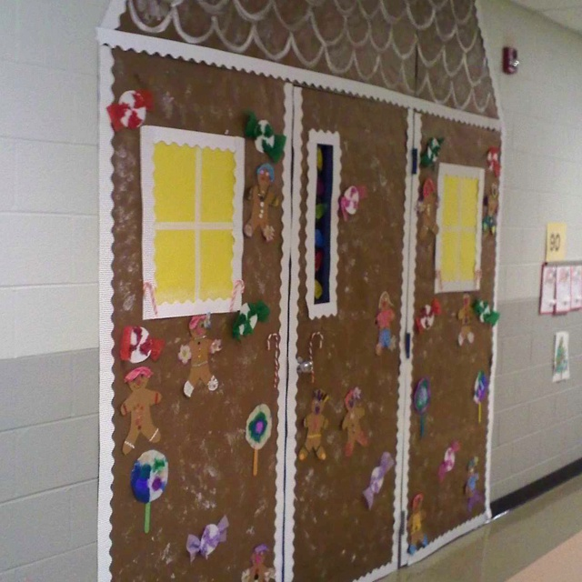 Gingerbread House Door Decoration School Ideas