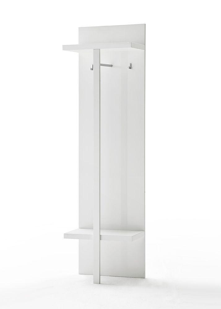 Garderobenpaneel Sidney Dielenmöbel Wandpaneel Weiß Hochglanz 4685. Buy now at https://www.moebel-wohnbar.de/garderobenpaneel-wandpaneel-1-weiss-hochglanz-4685