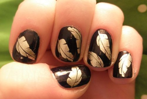 feathers! LOVE anything feathers: Fall Leaves, Nailart, Fall Nails, Gold Feathers, Nails Design, Nails Art Design, Feather Nails, Nail Art, Feathers Nails