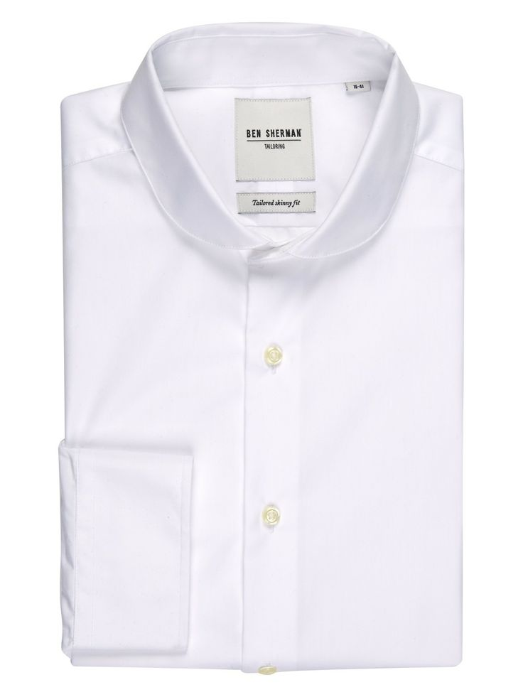 Plain Poplin Tailored Shirt With Penny Collar in Slim Fit | Suits | Ben  Sherman