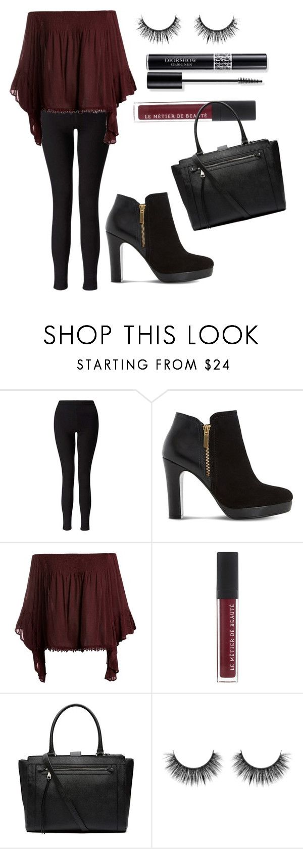 """Black"" by electraz on Polyvore featuring Miss Selfridge, Dune, Sans Souci, Witchery and Christian Dior"