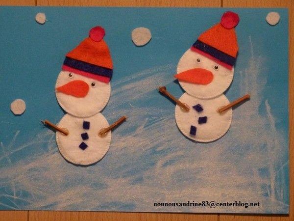 activité manuelle : Bonhommes de neige, collage, peinture