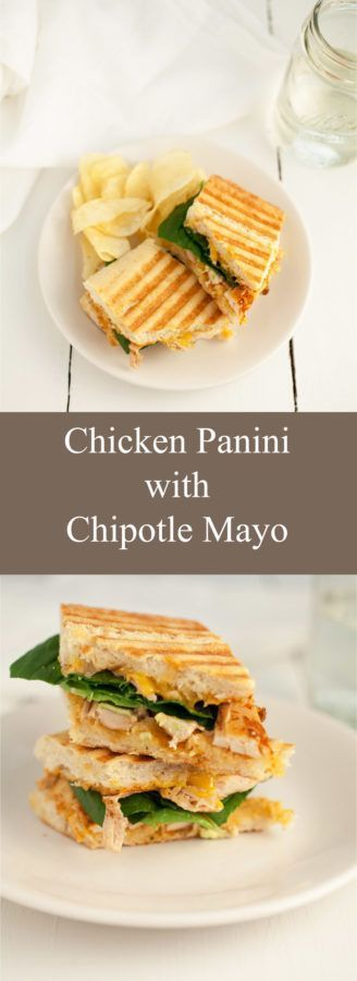 I love to make this Chicken Panini with Chipotle Mayo when I want a quick and easy lunch recipe. These panini sandwiches are simple and tasty. The chipotle mayo gives them a Southwest kick. They're full of chicken and fresh veggies like spinach and avocado. This is one of my favorite easy go-to recipes! #panini #chicken #chipotle #sandwich