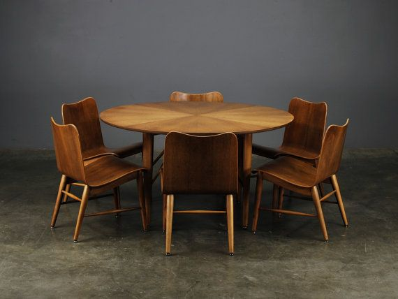 Vintage Mid Century Modern Game Table With Six Chairs Walnut With Pale Hardwood Perhaps Birch Likely Game Room Chairs Game Table And Chairs Modern Game Tables