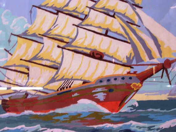 Vintage Paint By Number Clipper Ship by DreamofFaith on Etsy, $25.95