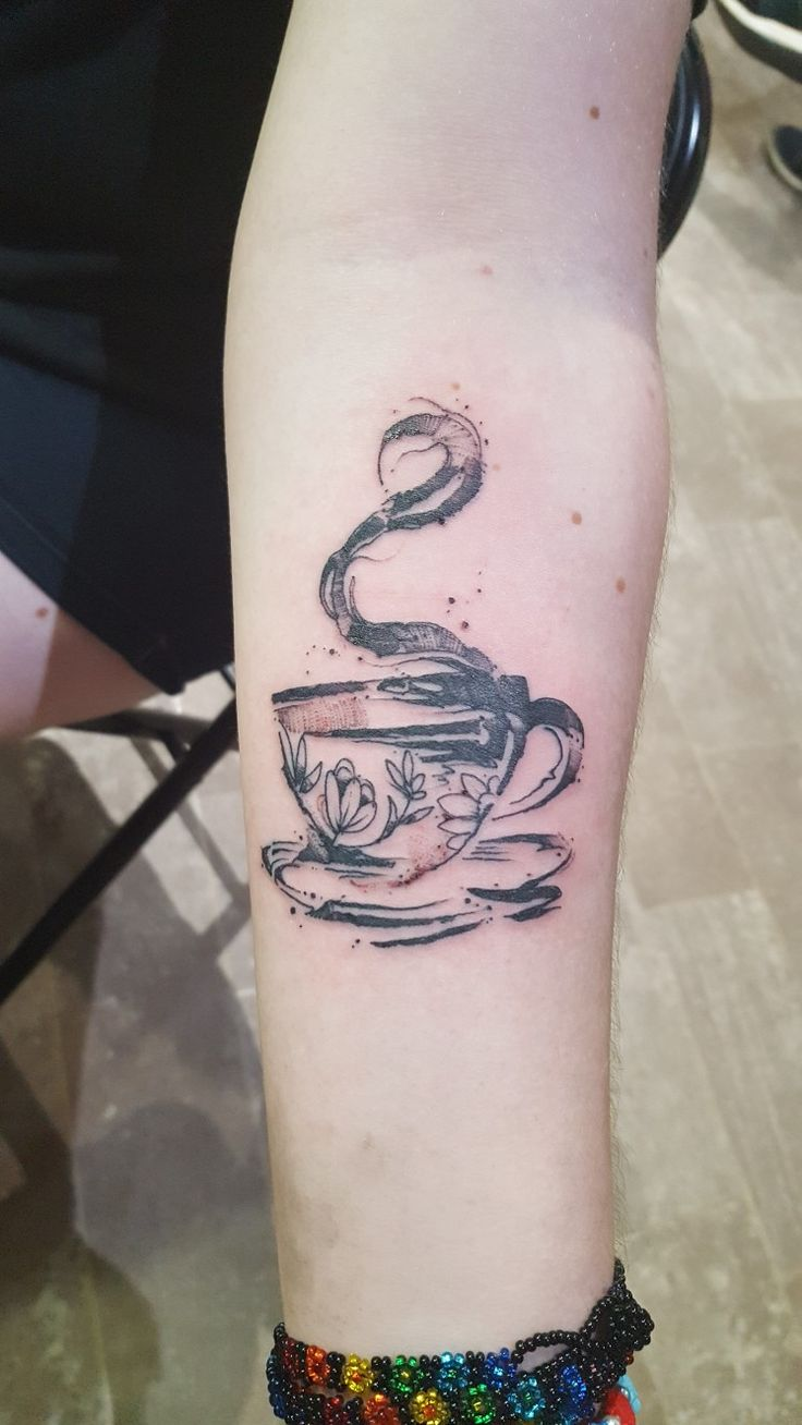 Coffee cup tattoo with flowers☕  I'm forever in love with my new tattoo (Done @ Evolved Body Art, Columbus Ohio) (Photo by @eruka8)