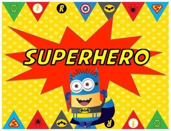 "This adorable superhero behavior chart will brighten up your classroom!  It's great for a superhero theme or a minion theme!  I put each of my students' names on a star or superhero and glue it onto a clothespin.  I start all of the students' clips on Green ""Ready to Fly""."