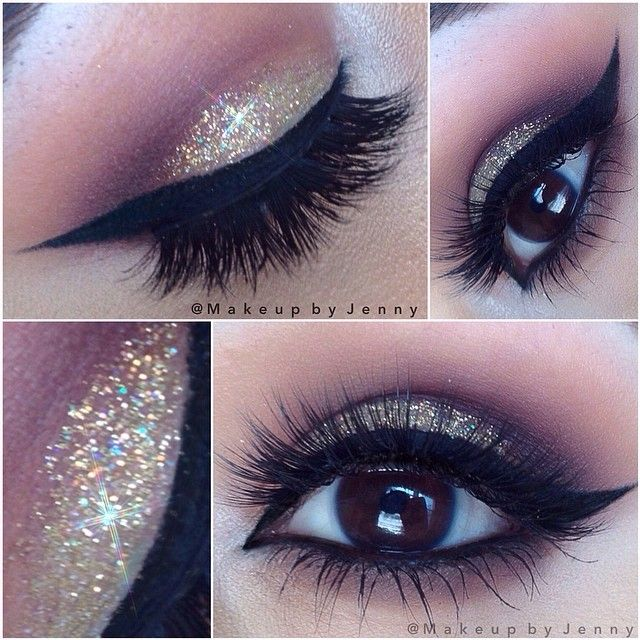 Gold glitter look