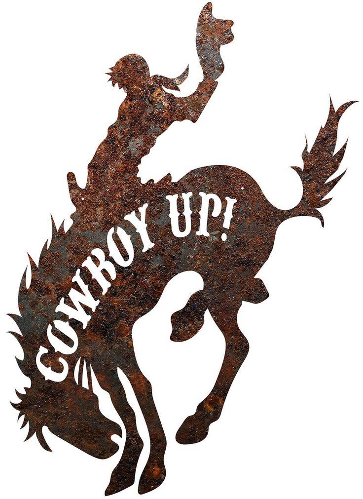 "Rustic Metal Bronco ""Cowboy Up"" Sign Wall Décor"