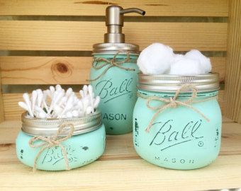 Hand Painted Mason Jar Bathroom Set Mason Jar by Dhvanisdesigns