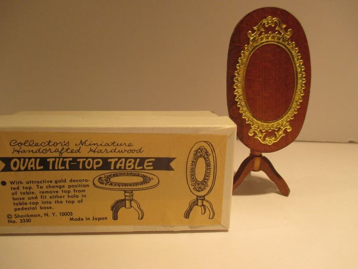 VINTAGE SHACKMAN  DOLLHOUSE FURNITURE,SMALL OVAL TILT TABLE IN ORIGINAL BOX #Shackman